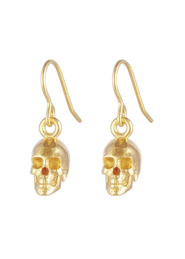 Skull Earrings Gold Vermeil