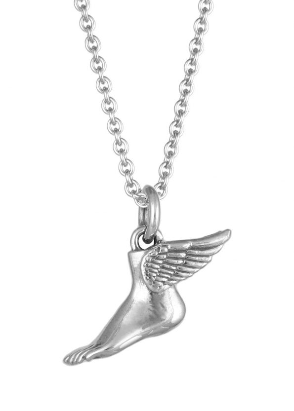 Winged Foot Necklace Silver