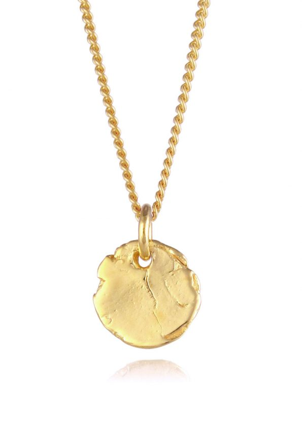 Textured Disc Necklace Gold