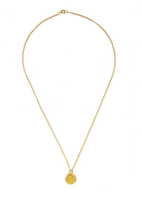 Textured Disc Necklace Gold Vermeil