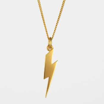 Long Lightning Bolt Necklace Gold Vermeil