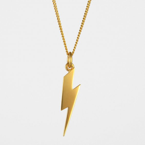 Long Lightning Bolt Necklace Gold Vermeil