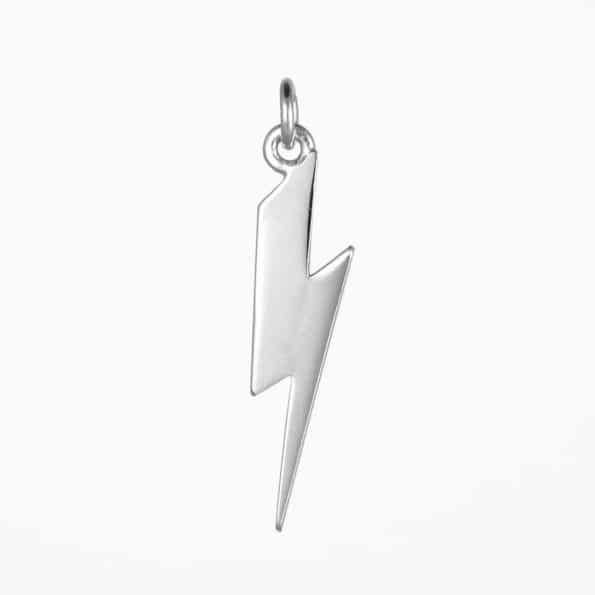Long Lightning Bolt Pendant Silver