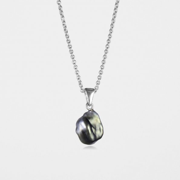 Black Pearl Necklace Silver