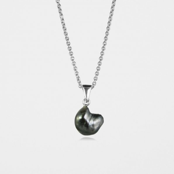 Black Pearl Necklace Silver #3