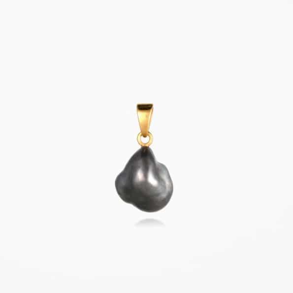 Black Pearl Pendant Gold Vermeil