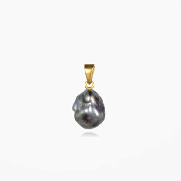 Black Pearl Pendant Gold Vermeil #2