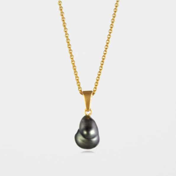 Black Pearl Necklace Gold Vermeil