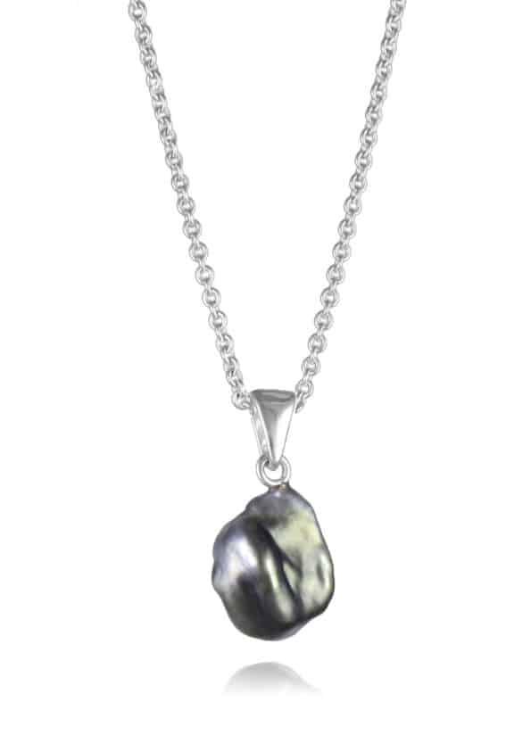 Black Pearl Necklace Silver
