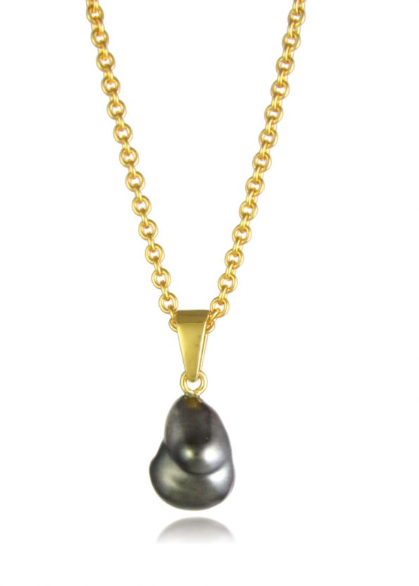Black Pearl Necklace Gold