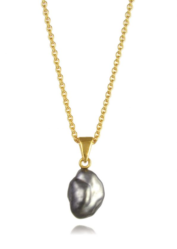 Black Pearl Necklace Gold Vermeil