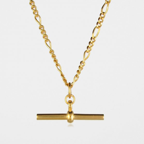 Figaro Chain T Bar Necklace Gold Vermeil