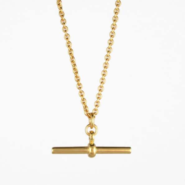 Trace Chain T Bar Necklace Gold Vermeil