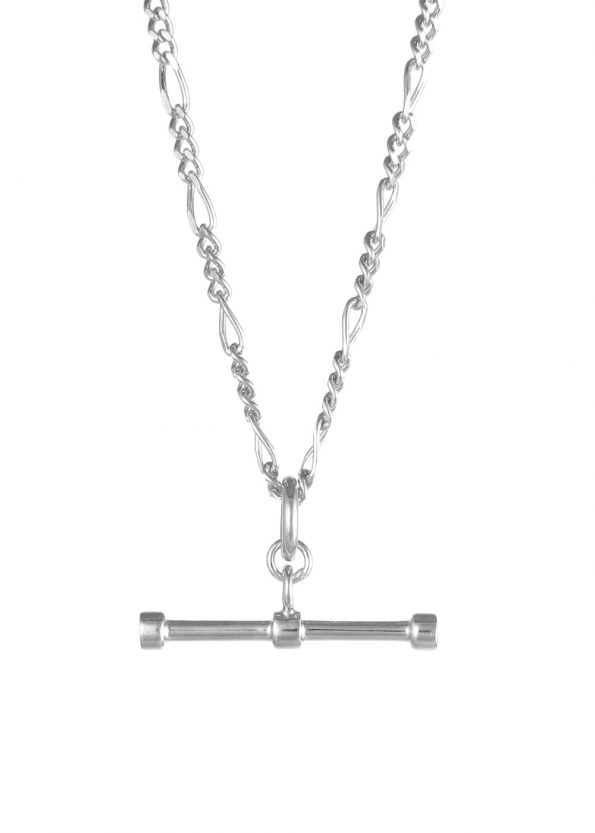 Figaro Chain T Bar Necklace Silver