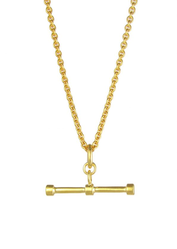 Trace Chain T Bar Necklace Gold