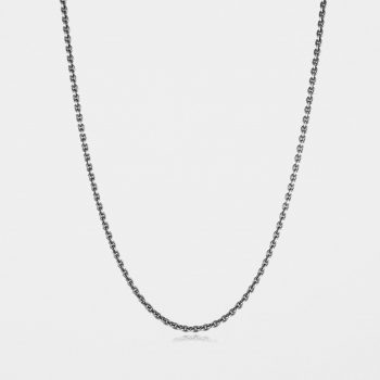 Medium Trace Chain Oxidised Silver