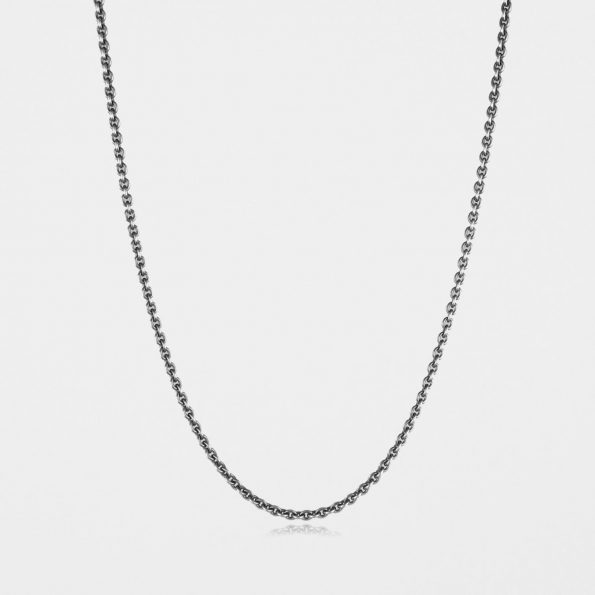 Medium Trace Chain Oxidised Silver