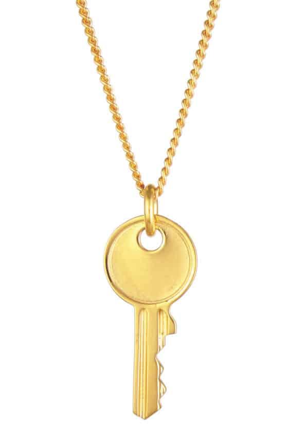 Large Key Necklace Gold Vermeil