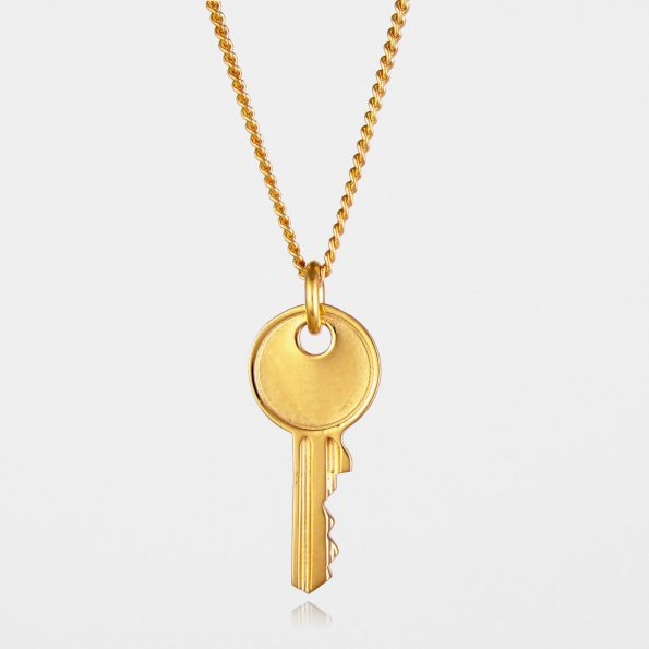 Large Key Necklace Gold Vermeil