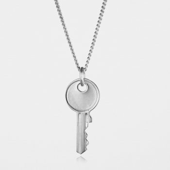 Large Key Necklace Silver