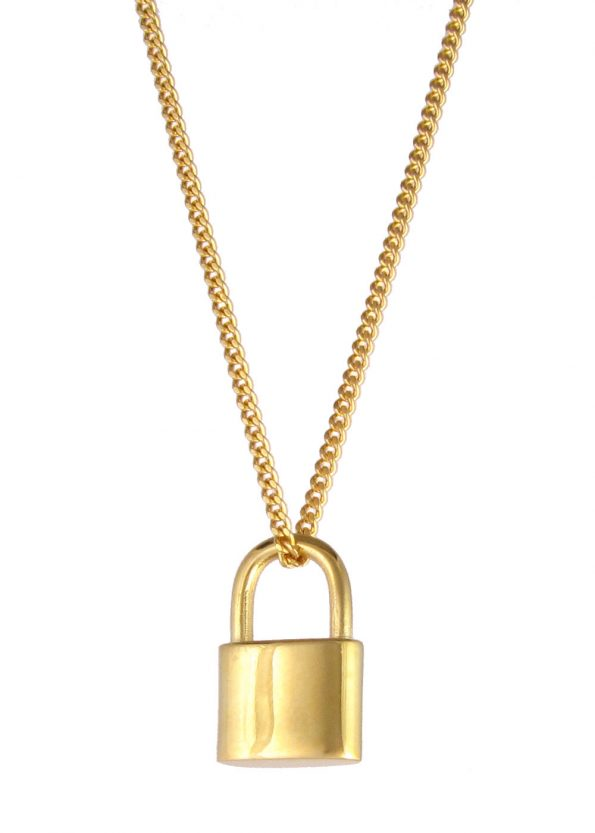 Small Padlock Necklace Gold