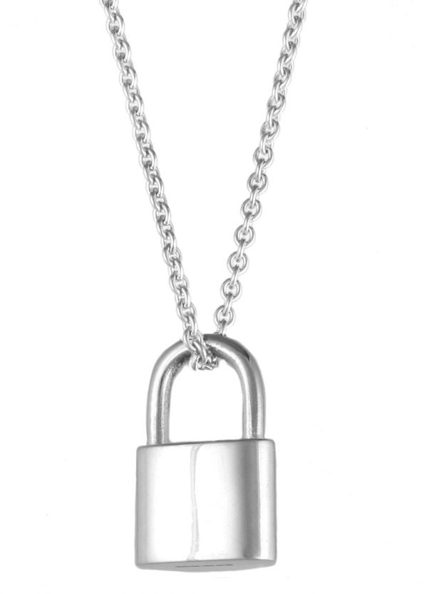 Large Padlock Necklace Silver