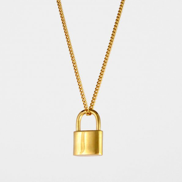 Small Padlock Necklace Gold Vermeil