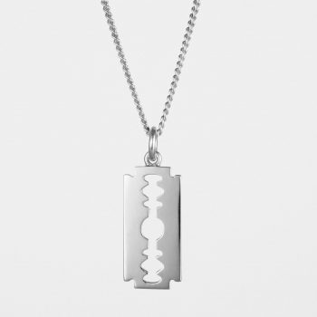 Large Razor Blade Necklace Silver
