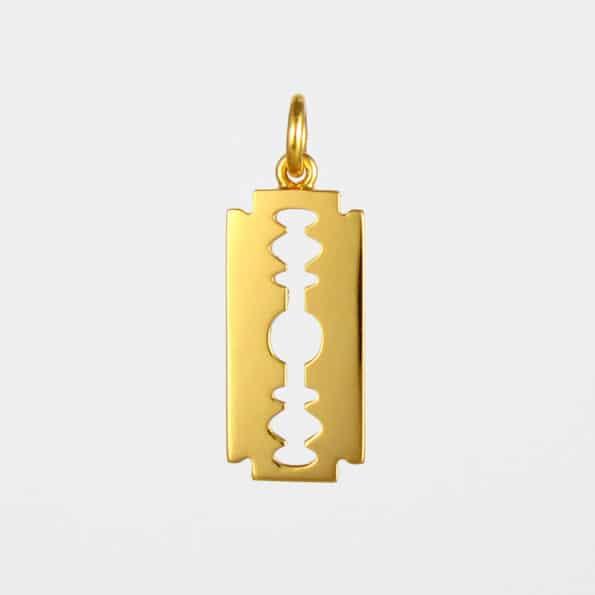 Large Razor Blade Pendant Gold Vermeil