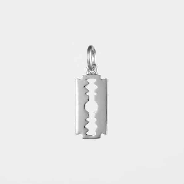 Small Razor Blade Pendant Silver