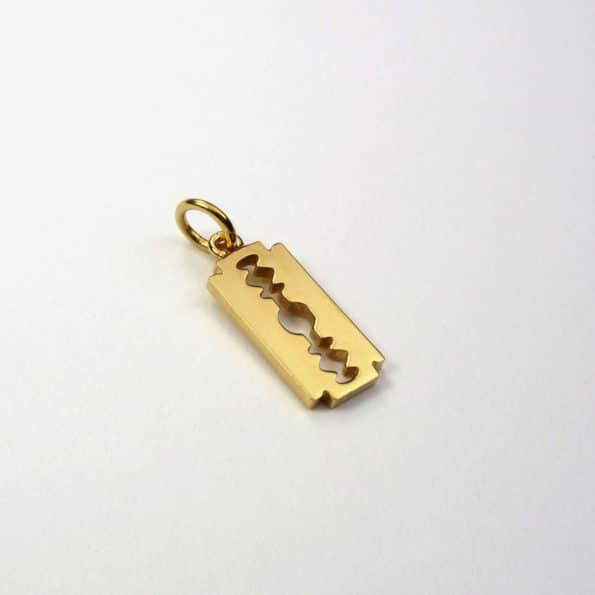 Small Razor Blade Pendant Gold Vermeil