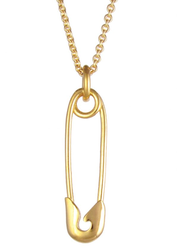 Vertical Safety Pin Necklace Gold Vermeil