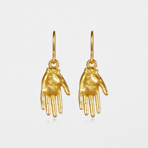 Hand of Mystery Earrings Gold Vermeil