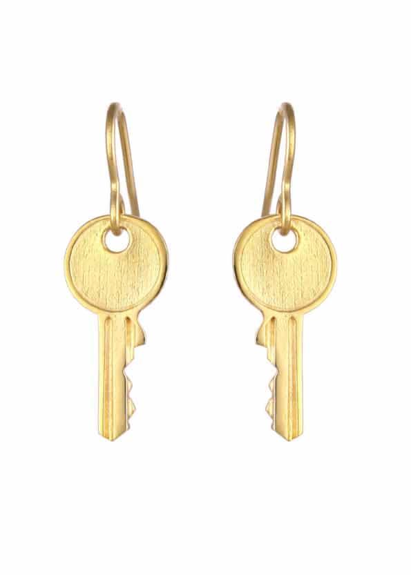 Key Earrings Gold Vermeil