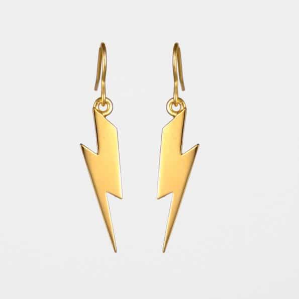 Lightning Bolt Earrings Gold Vermeil