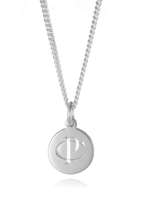 Small Monogram Disc Necklace Silver