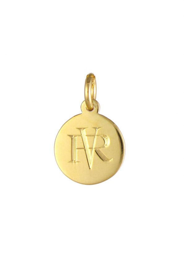 Small Monogram Disc Pendant Gold Vermeil