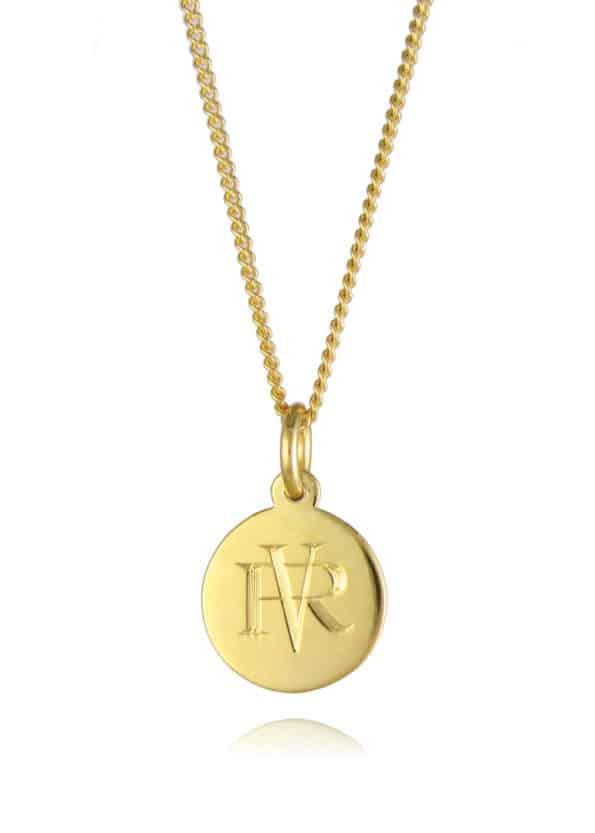Small Monogram Disc Necklace Gold Vermeil