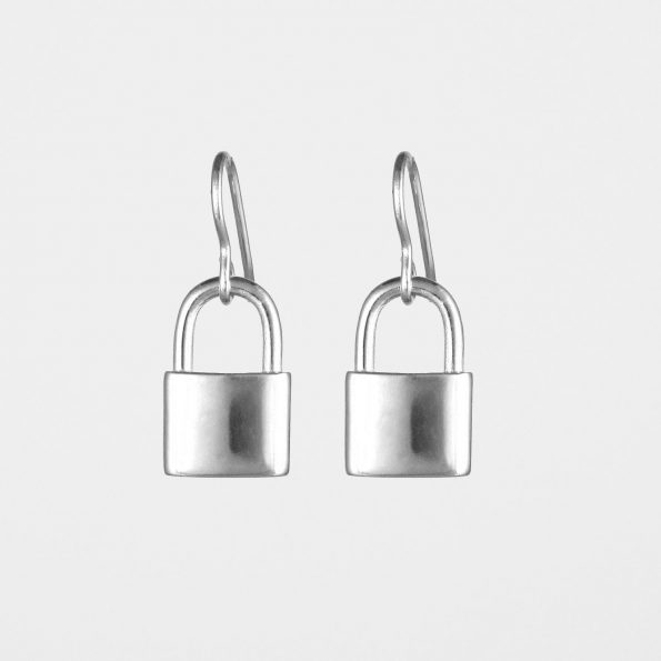 Padlock Earrings Silver