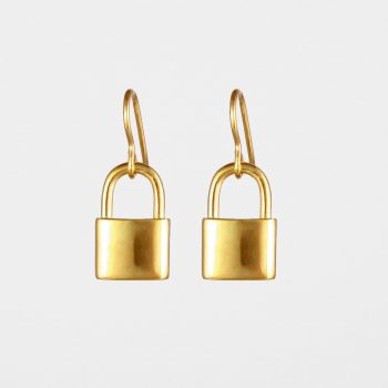 Padlock Earrings Gold Vermeil