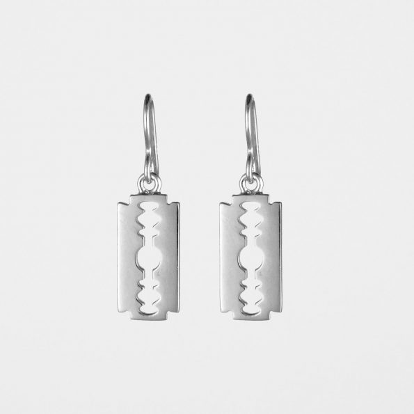 Razor Blade Earrings Silver
