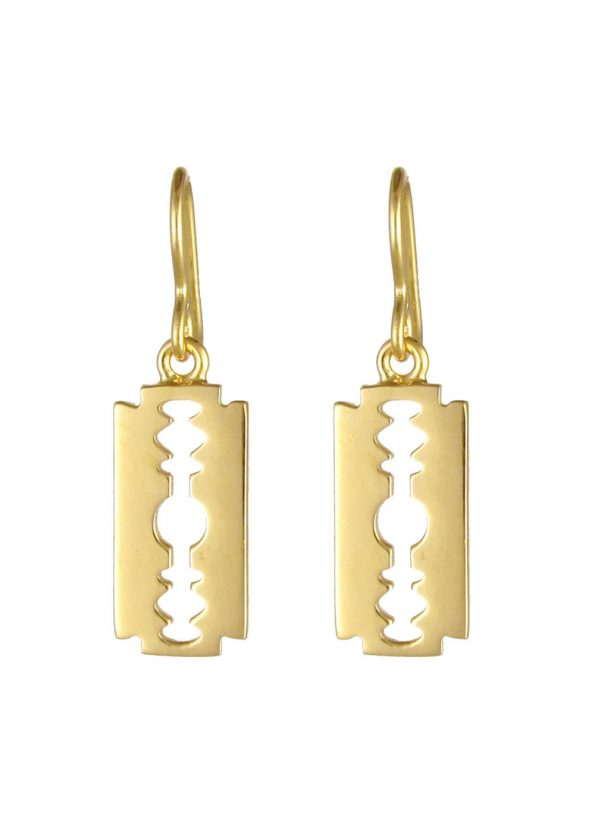 Razor Blade Earrings Gold Vermeil