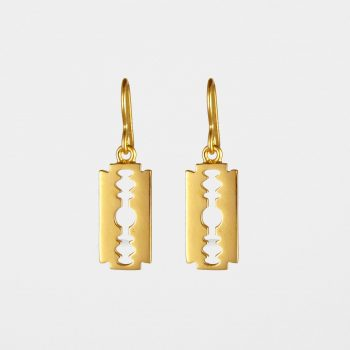 Razor Blade Earrings Gold Vermeil