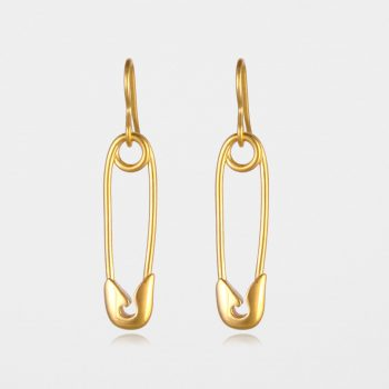 Safety Pin Earrings Gold Vermeil