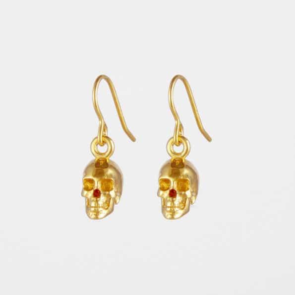 Skull Earrings Gold Vermeil