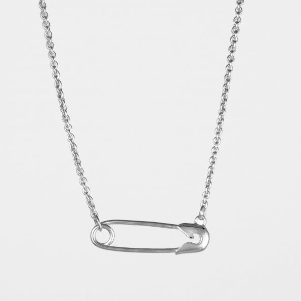 Horizontal Safety Pin Necklace Silver
