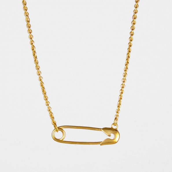 Horizontal Safety Pin Necklace Gold Vermeil