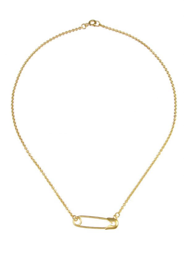 Horizontal Safety Pin Necklace Gold