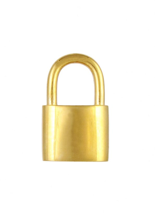 Large Padlock Pendant Gold Vermeil