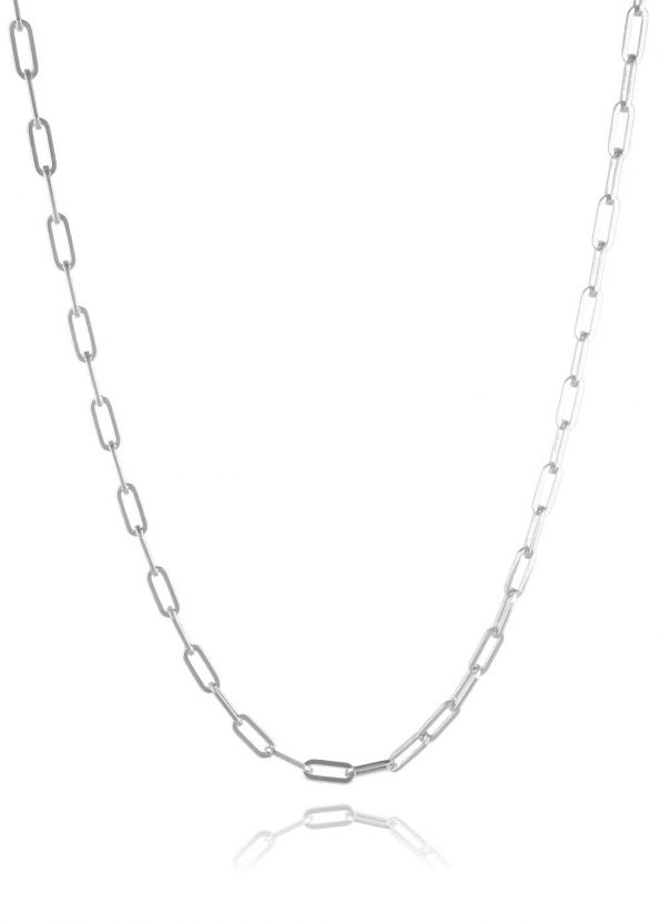 Wide Link Trace Chain Silver